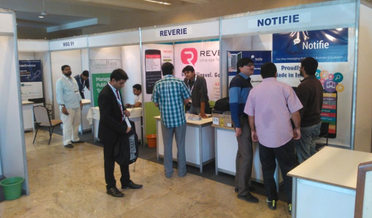 Reverie at Mobile Sparks 2015 - Dheeraj in the Stall, Arvind, Vivek and Bhupen in the next one - networking